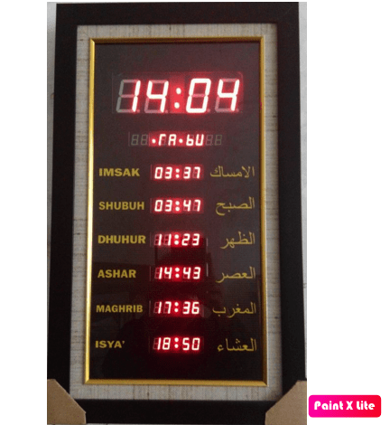 Jam timer adzan led Tipe Vertical Black